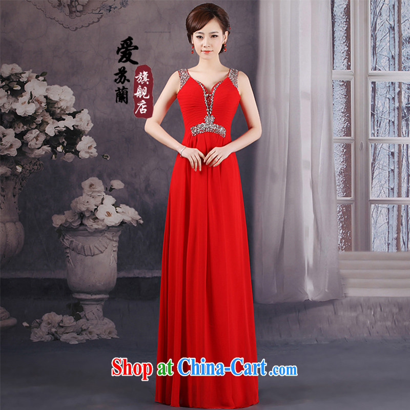 New dual-shoulder dress Princess wedding V collar red bridal replacing bridesmaid marriage serving toast dress red XXXL