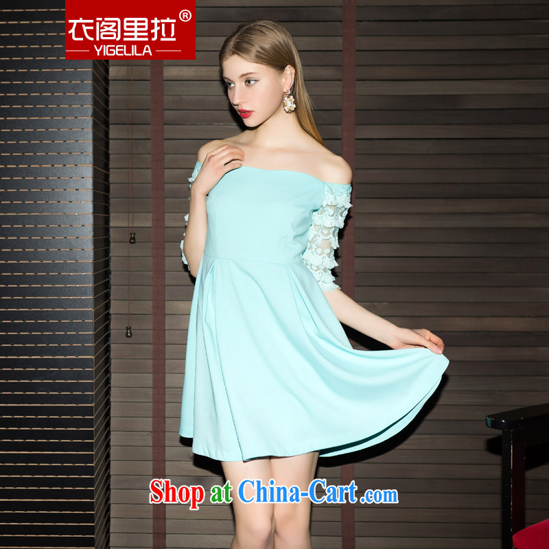 Yi Ge lire Lady style lace 5 cuffs and fresh name yuan a field for small dress dresses blue 6843 M