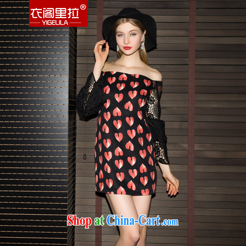 Yi Ge Theo-Ben Gurirab black Lace Embroidery long-sleeved a field for commercial heart stamp dress dresses peach 6842 L
