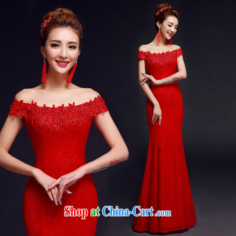A good service is 2015 New Red brides with wedding dress a shoulder dress uniform toast with crowsfoot red 2 XL