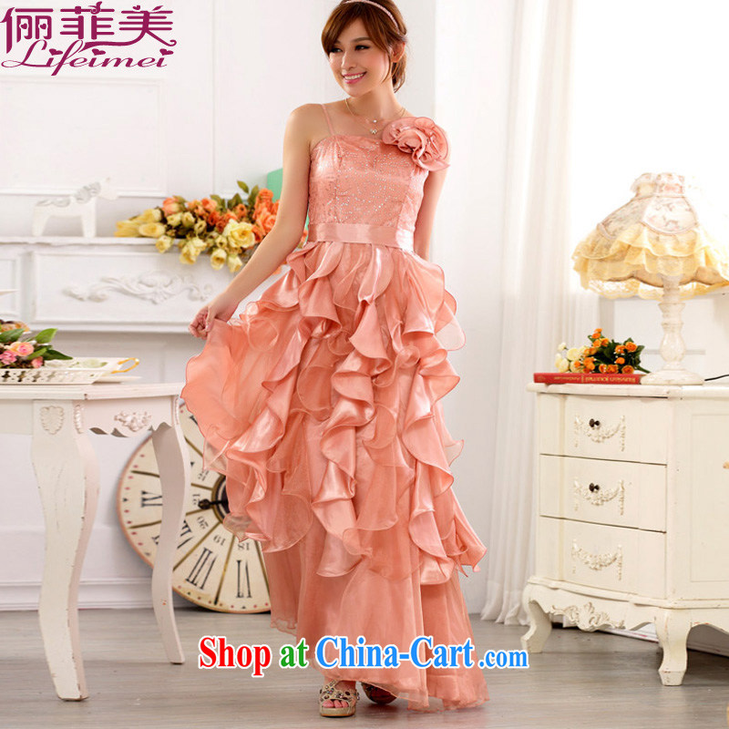 An Philippines and the United States stylish evening show annual service night skirt high waist Princess skirt, straps long bridal toast the code graphics thin dress dresses pink XXXL