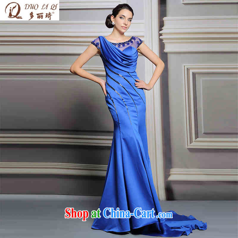 More than Li Qi long-tail Western dress blue model model show car models at Merlion dress picture color XXL