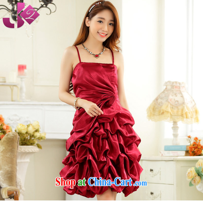 2015 spring and summer New Solid Color sweet GALLUS DRESS evening gown wedding toast hosted performances, dress XL female wine red 3 XL 175 recommendations about Jack
