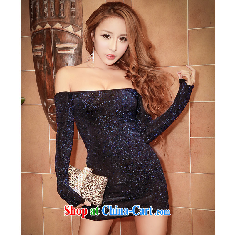 Fire of 2015 spring and summer sexy night dress a field for your shoulders wrapped chest dress light, tight package and long-sleeved dresses YD 8850 royal blue light silk L code (105 - 120 ) jack