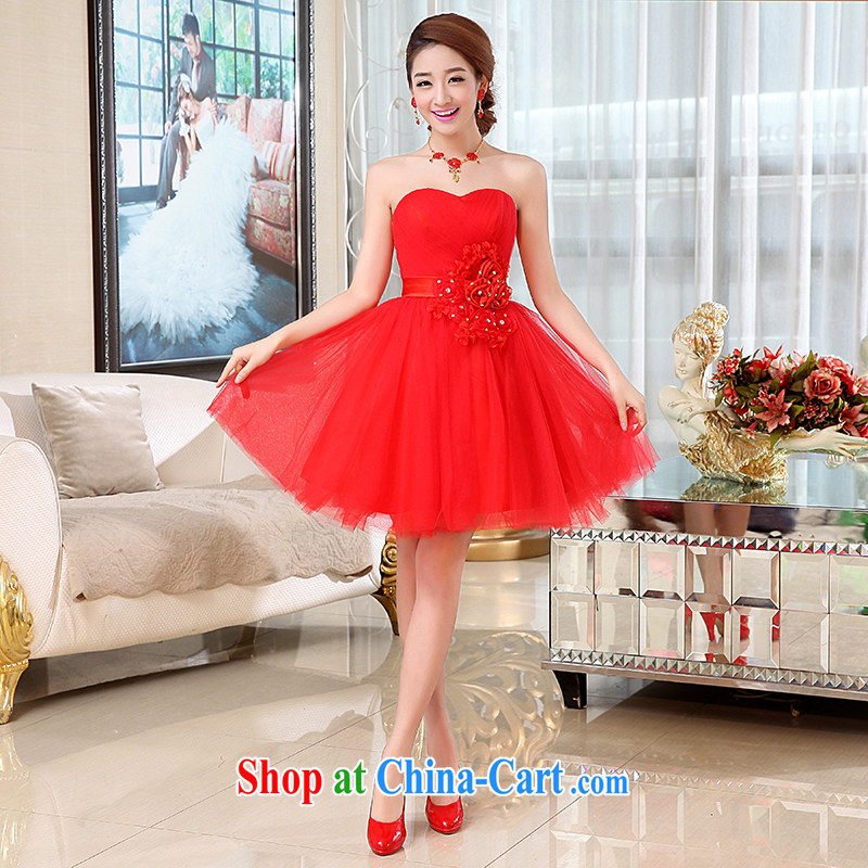 Hi Ka-Hee-won Princess bridal flowers erase chest wedding dresses bridesmaid clothing new 2015 spring X 001 red XL