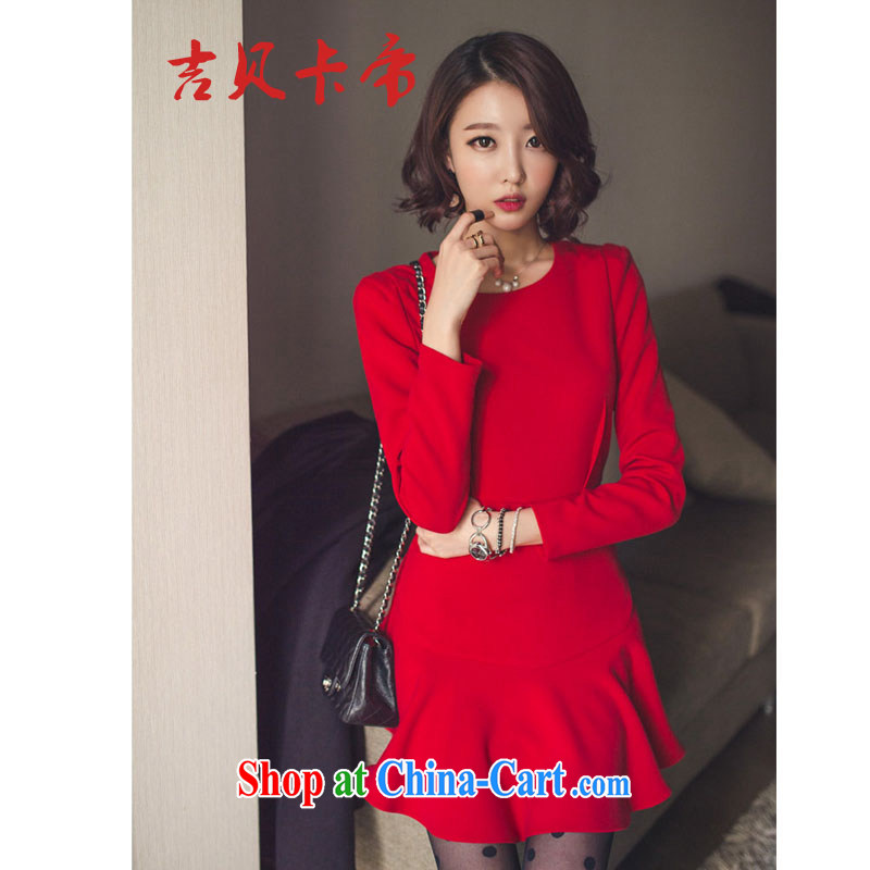 The Bekaa in Dili 9593 #red Chinese Lunar New Year festive elegant wedding dress beauty solid skirt dresses women's clothing Fall Winter red XL