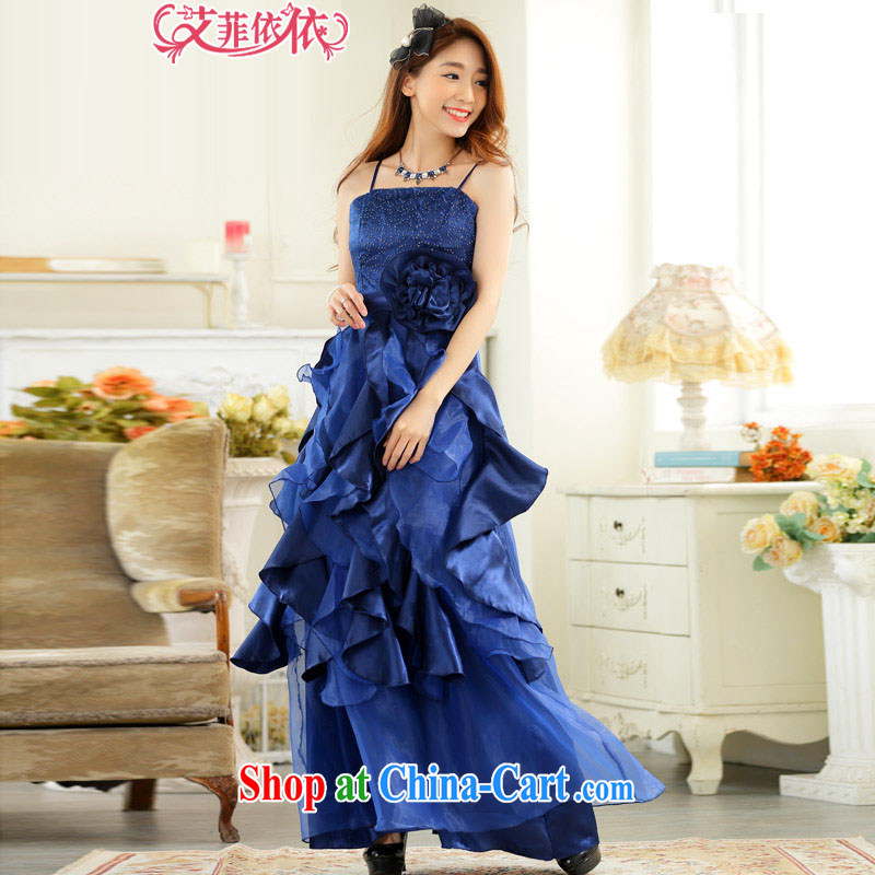 The heartrending stereo large floral layers long evening dress 2015 Korean version of the new, sweet banquet annual meeting of the persons chairing cake dress skirt 5648 royal blue XXXL code