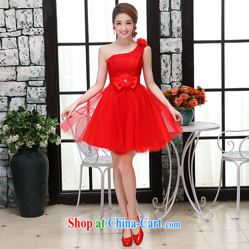 Hi Ka-hi wedding dresses 2015 new single shoulder Korean Princess Mary Magdalene bride Chest straps short, only the US shaggy dress bridesmaid clothing X red XL