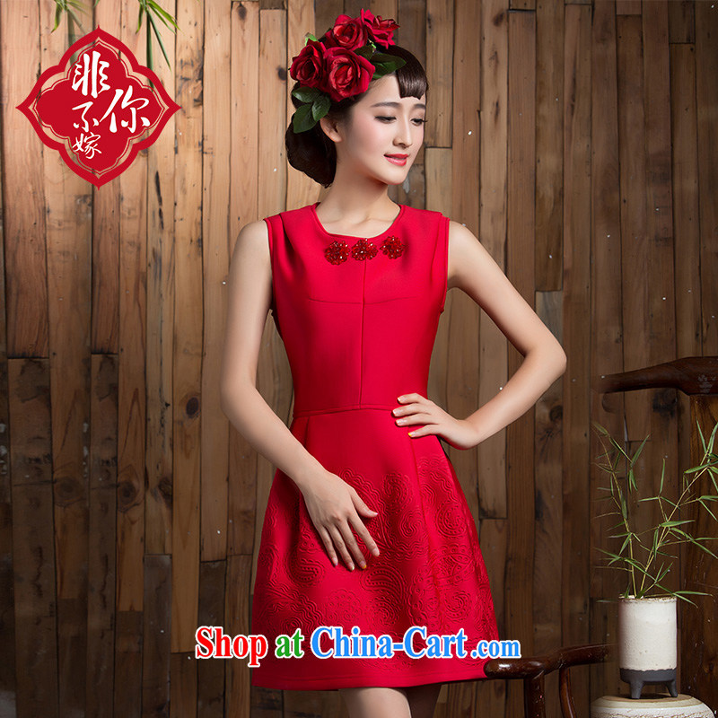 2014 new autumn and winter clothing toast wedding bridal short sleek beauty red dresses wedding dresses small red XL