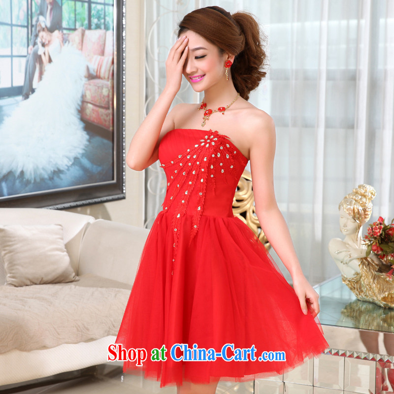 Hi Ka-spring 2015 new Korean Princess bridal flowers erase chest short bridesmaid X serving 019 red XL