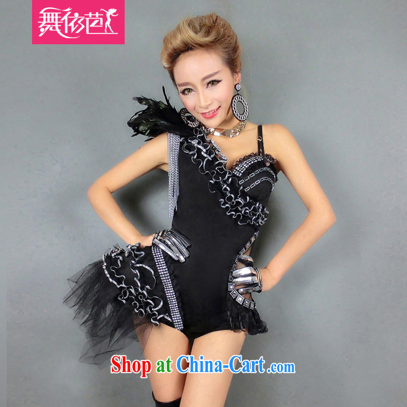 Dance to hip hop new Europe Night Bar DS performance service DJ dancer uniforms sexy singer jazz dance clothing _8381 black L large code