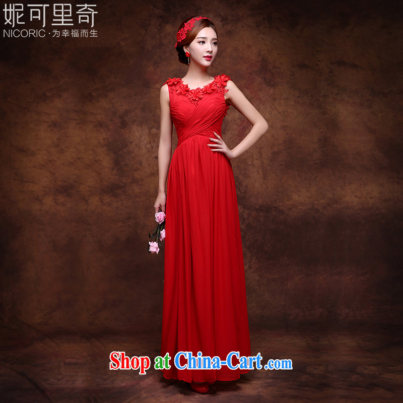 New 2015 summer red long gown bridal wedding toast service banquet dress pregnant red XXL (graphics thin dress)