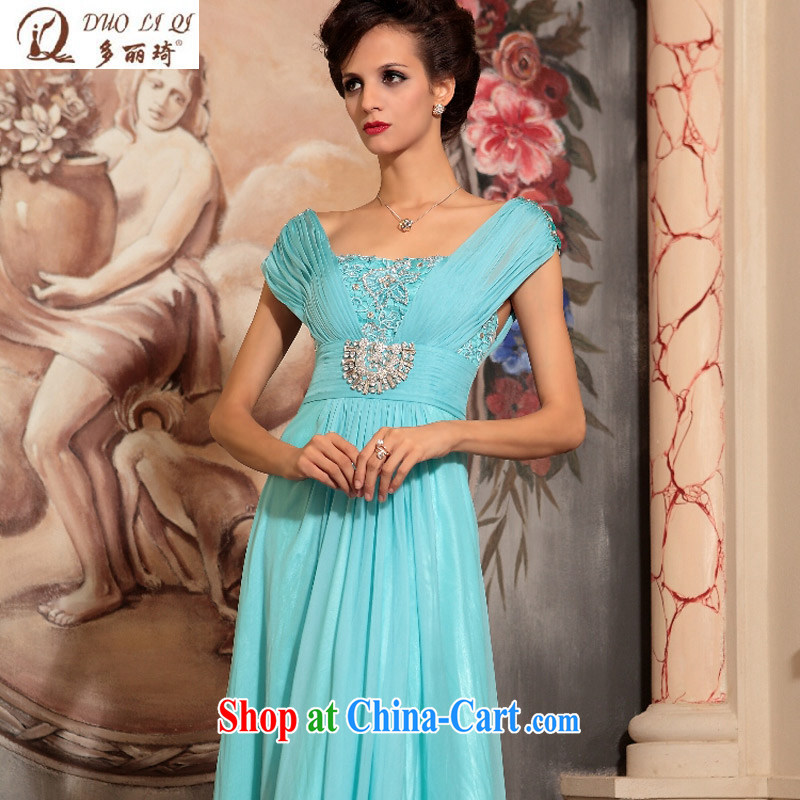 More LAI Ki blue beauty long evening dress banquet the Evening dress in Europe Evening Dress blue XL
