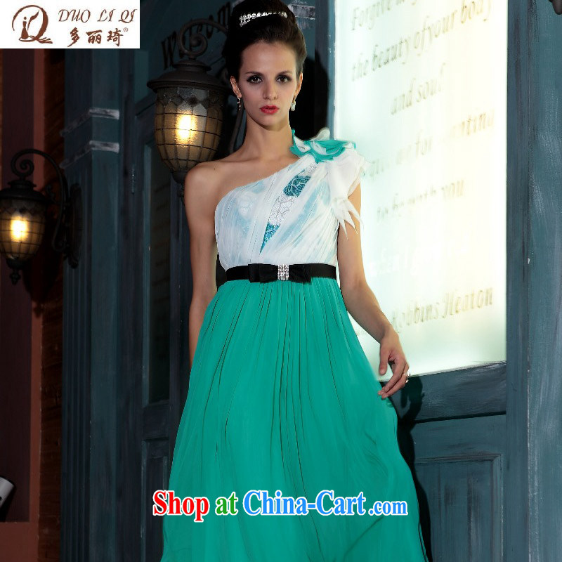 More LAI Ki Europe Evening Dress single shoulder green evening dress evening gown beauty winter long gown advanced wedding green XL