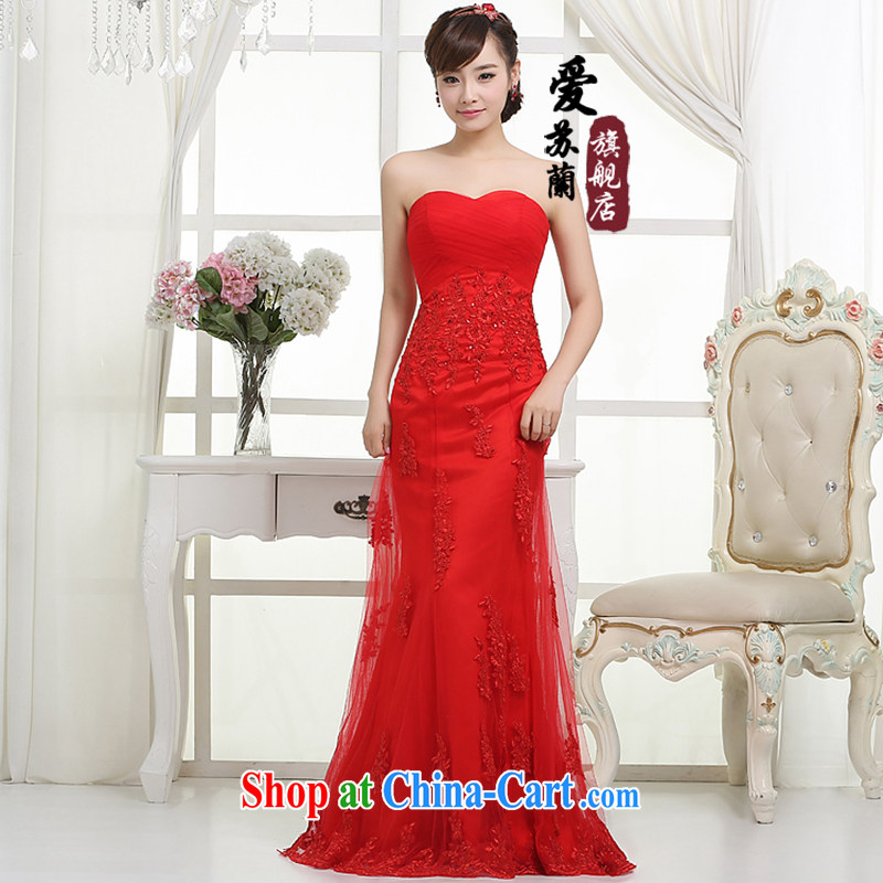Bridal wedding dresses marriage Korean dresses, red dresses bridal wedding wedding dresses beauty crowsfoot dress red XXXL