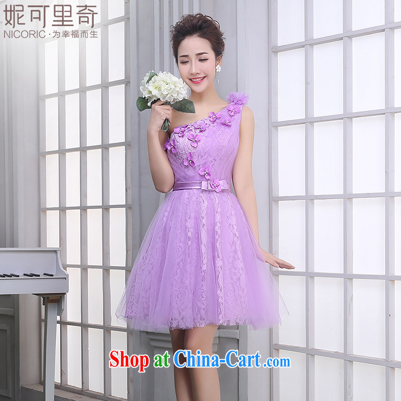 Summer bridesmaid dresses small banquet dress 2015 new purple short bridesmaid's sister dress dresses annual light purple A single shoulder T 14,009 M _standard code 10 Day Shipping_