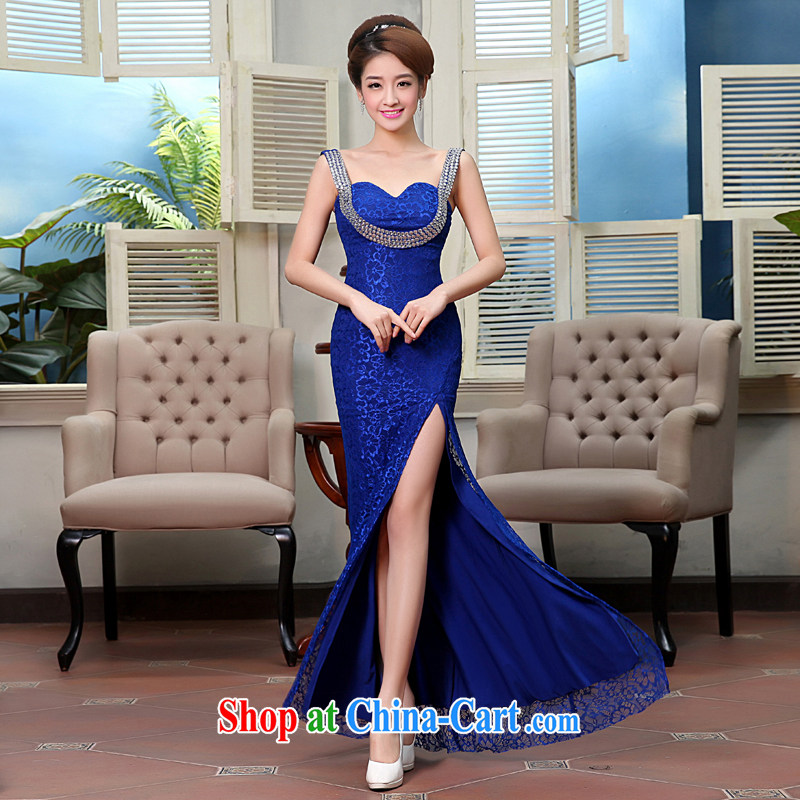 Hi Ka-hi wedding dresses new 2015 spring fashion shoulders the sense of dress uniforms serving dinner bridesmaid clothing X 0006 royal blue M