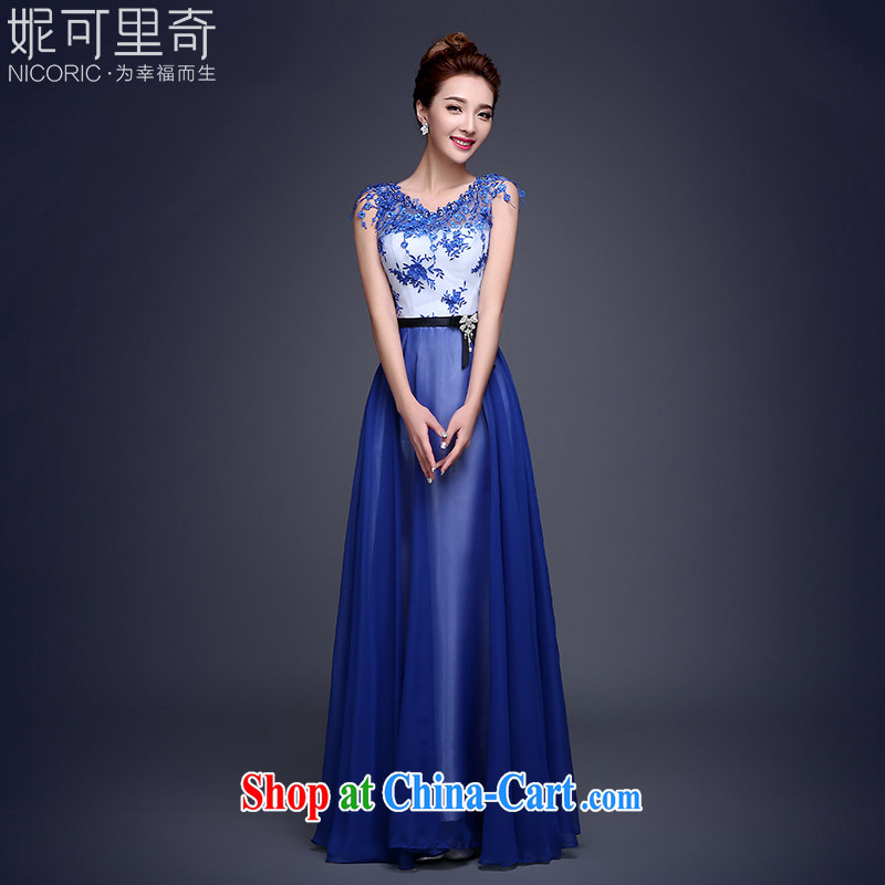 2015 new banquet dress marriages long gown bridal toast serving graphics thin beauty summer school girls dancing dress dark blue XL (hand-making)