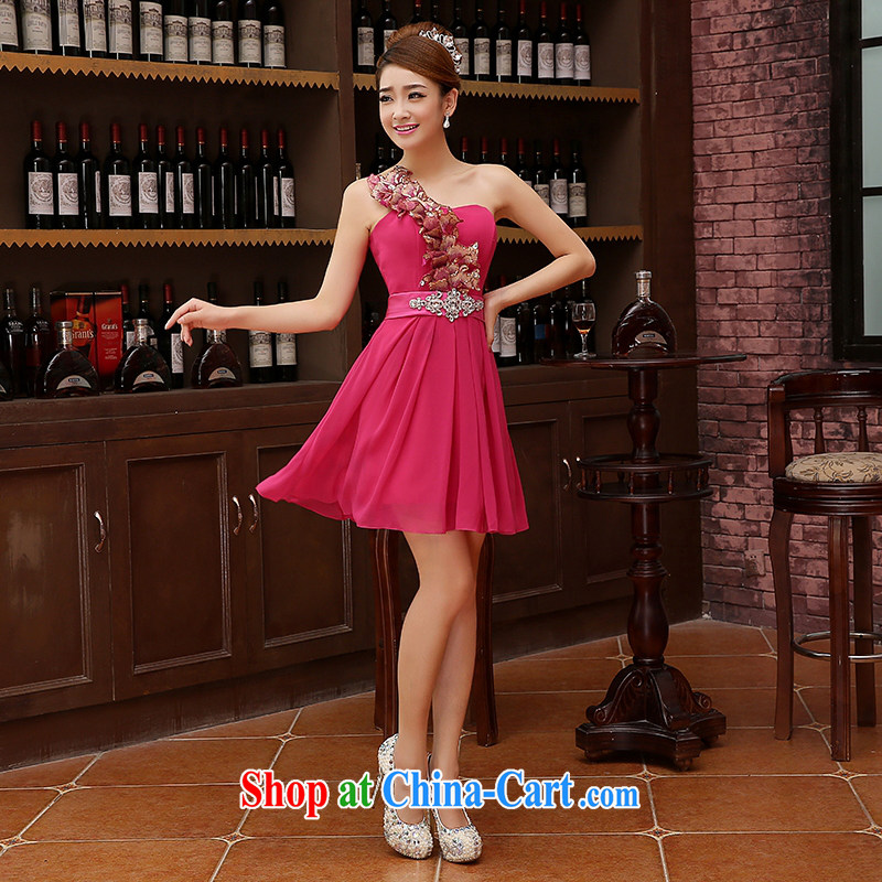 2015 new SISTER bridesmaid mission bridesmaid dress lace bare chest Bow Tie small dress evening dress dress Korean pink XXL