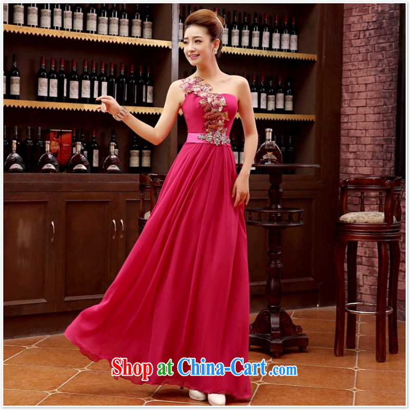 2015 new Korean red, shoulder-length, strap bridal wedding dress uniform toast dress dresses annual M light purple XL