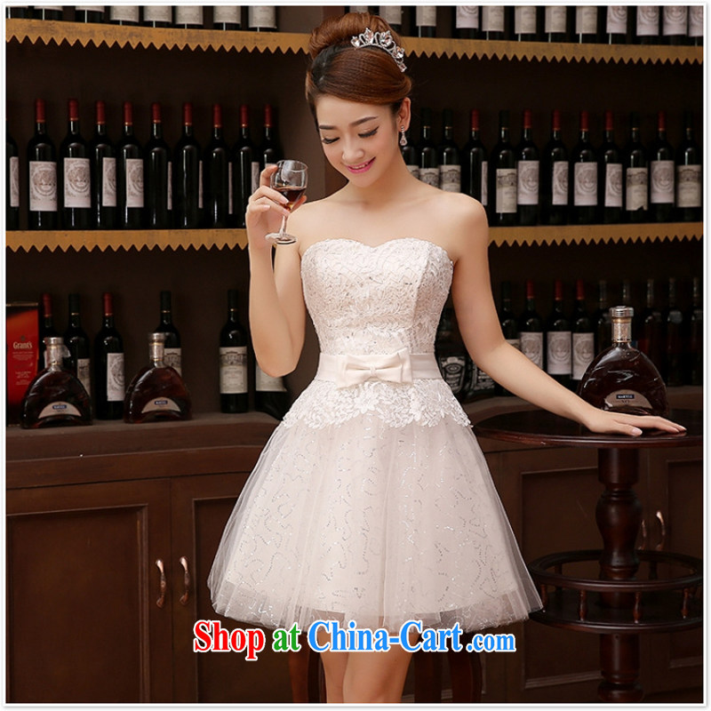wedding dresses bridal toast service 2015 new wedding dress bridesmaid clothing evening dress short dual-shoulder strap white M