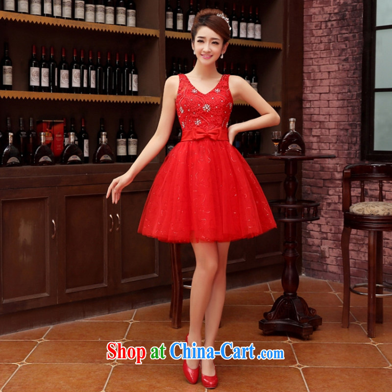 Her spirit marriage wedding dresses short bridesmaid mission the marriage tie short Evening Dress wedding dress small red XXL