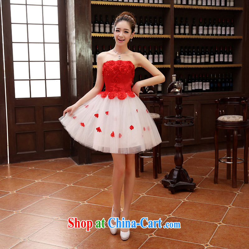 2015 new short erase Beauty Chest stylish red Korean Princess bride toast serving bridesmaid dress flowers red M