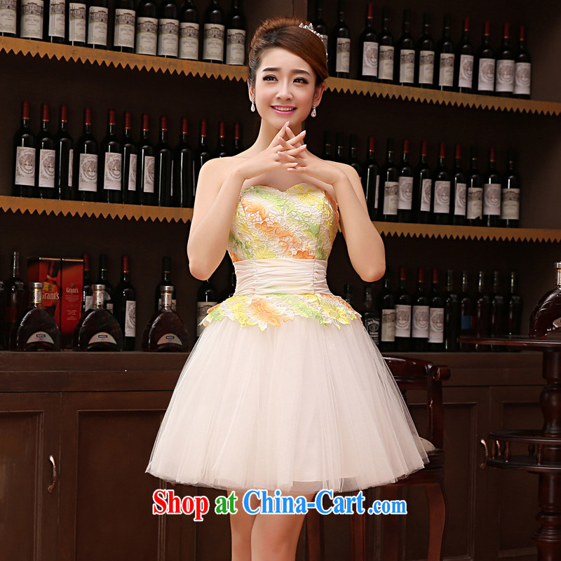 Her spirit marriage wedding dresses short bridesmaid mission the marriage tie-short Evening Dress wedding dress small light yellow XXL