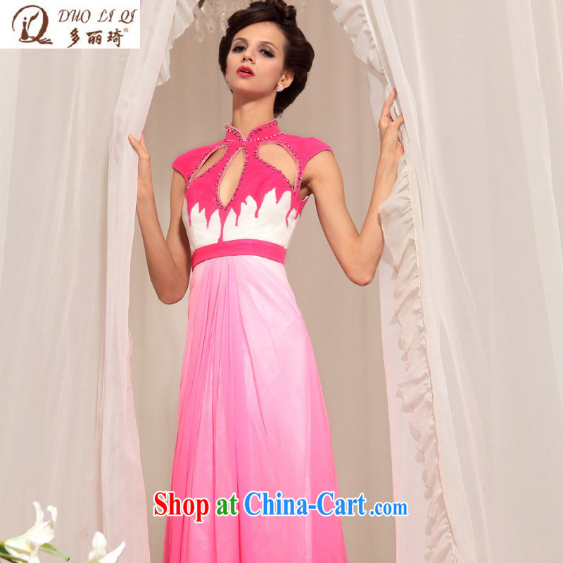 Multi-LAI Ki dress bridal wedding sexy long gown bridal gown toast in Europe and serve evening dress pink XXL