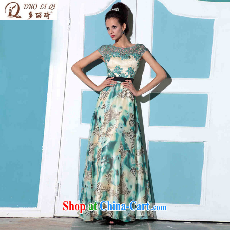 Multi-LAI Ki double-shoulder leopard print Evening Dress banquet company in Europe and annual Evening Dress wedding dresses green XXL