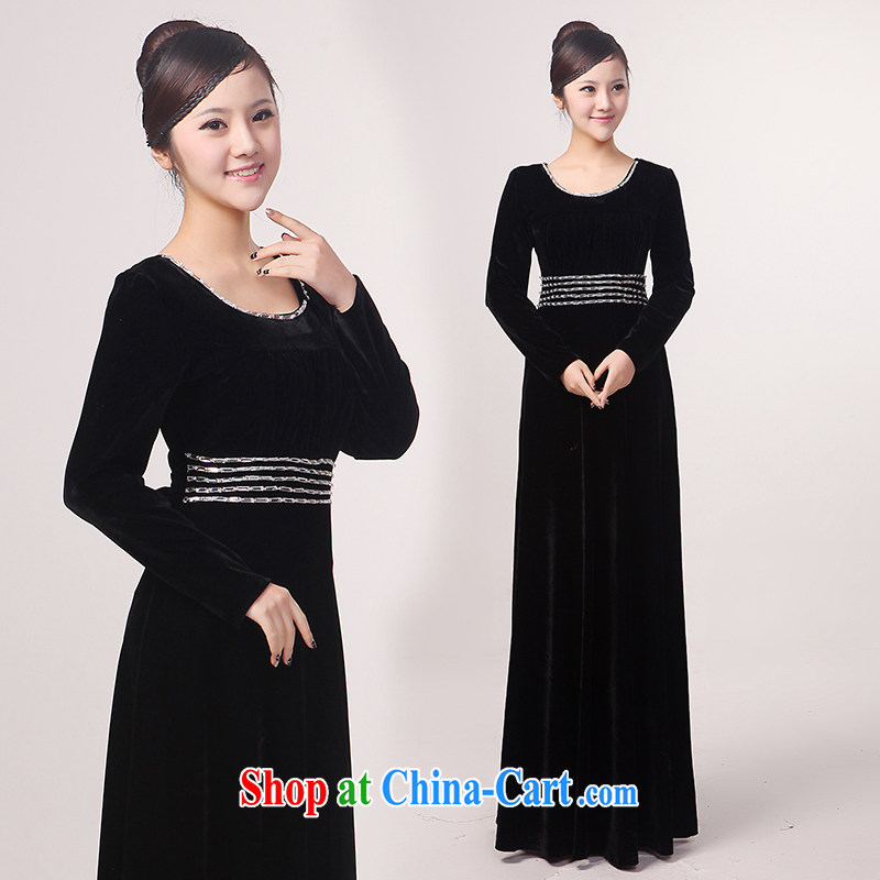 Her spirit winter long-sleeved chorus uniform black velvet choral service older chorus clothing choral conductor serving black XXXXL