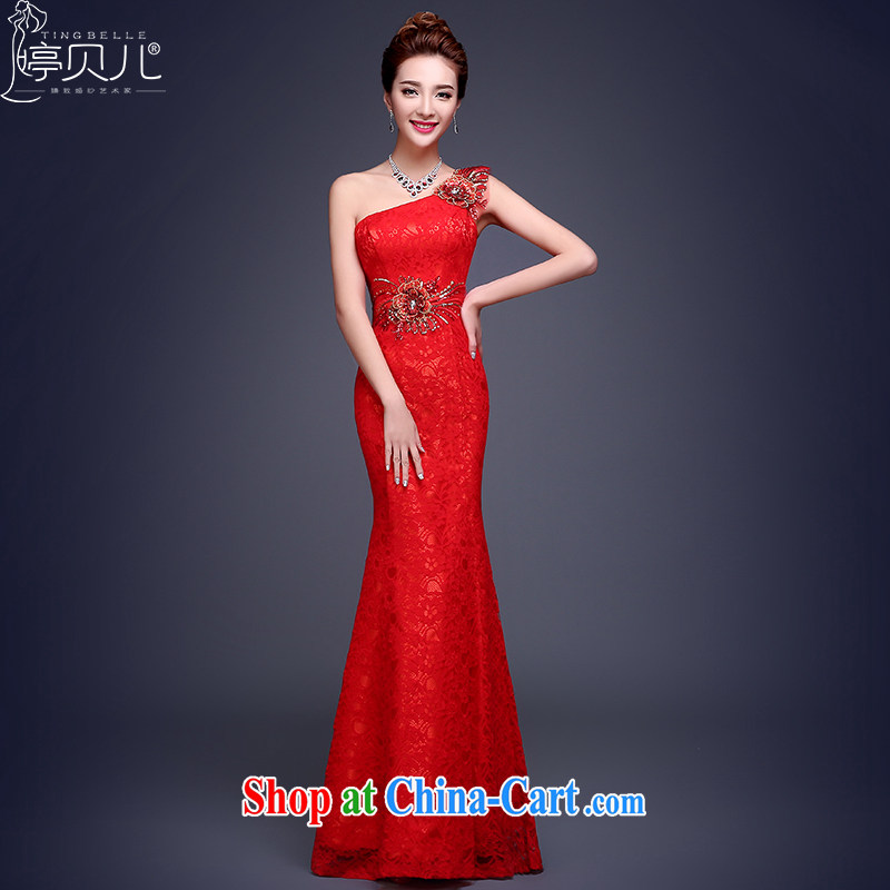 Toasting Service Bridal 2015 New Red single shoulder-length, crowsfoot winter wedding dress banquet annual Red Beauty M