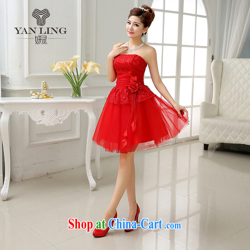 Bridal wedding dress short red water-soluble lace bows beauty serving the annual dress LF 227 red s