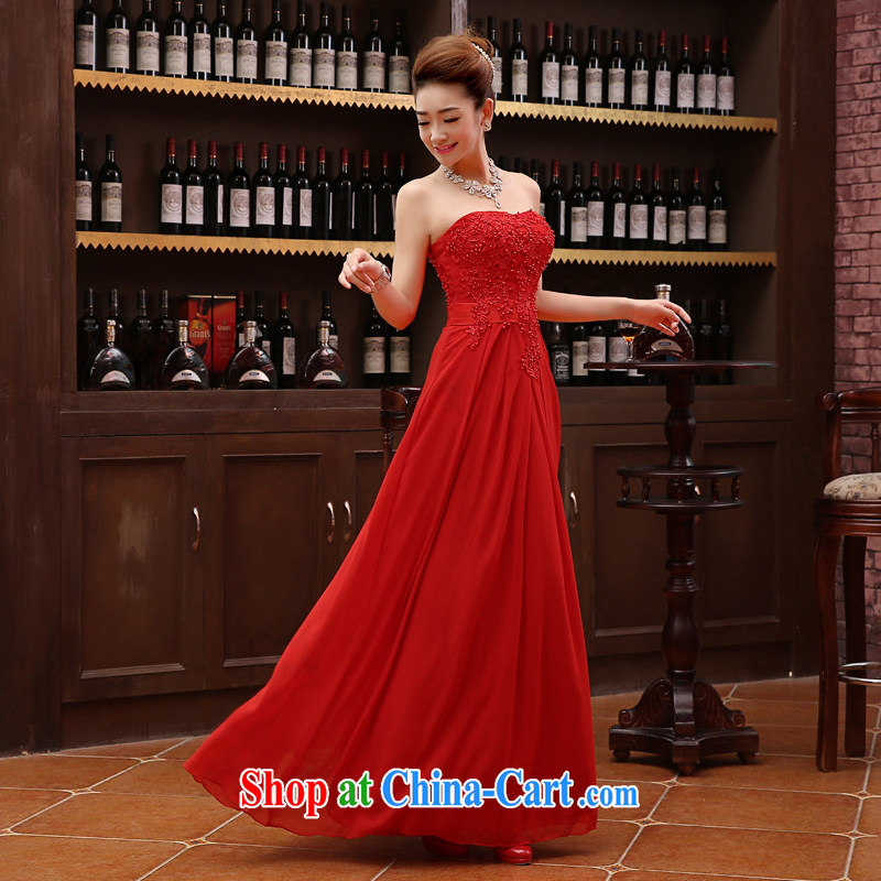 Winter bridesmaid dresses in red sister dress Evening Dress 2015 new wedding bridesmaid dress long XXL