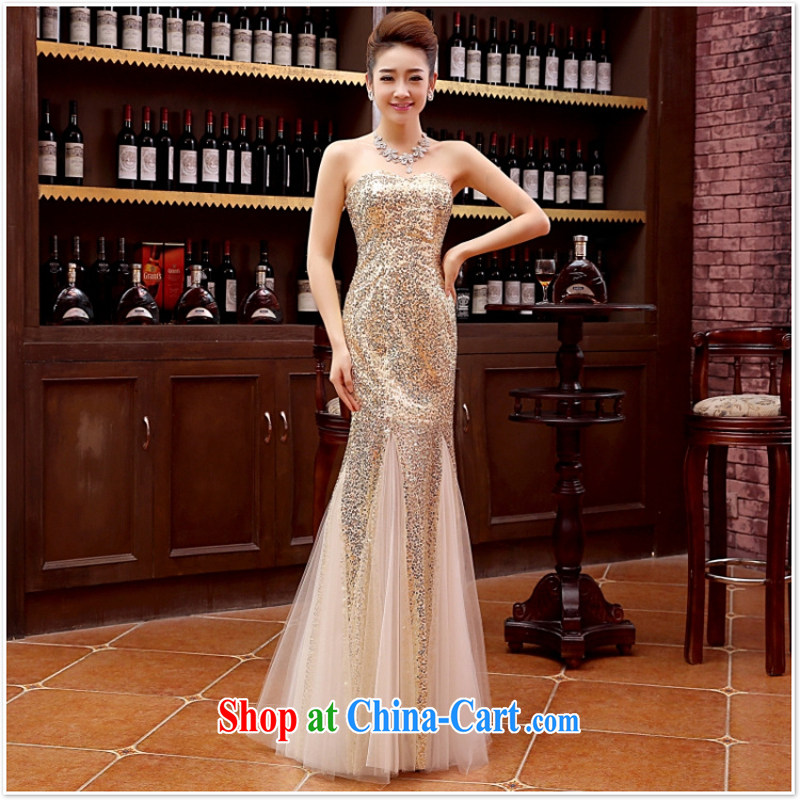 2015 new marriage wedding dresses Long sections, accompanied by her husband in the marriage Tie long evening dress wedding dress gold M M