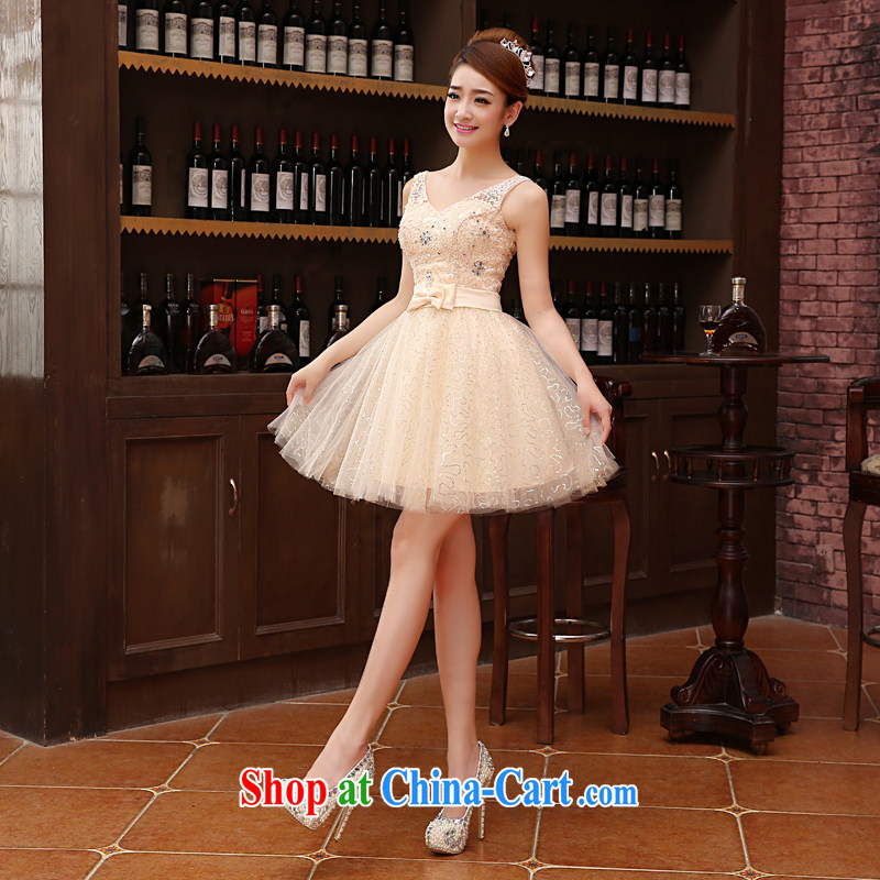 2015 new lace wedding dresses small short Evening Dress skirt show bridal toast clothing bridesmaid banquet service M meat color XXL