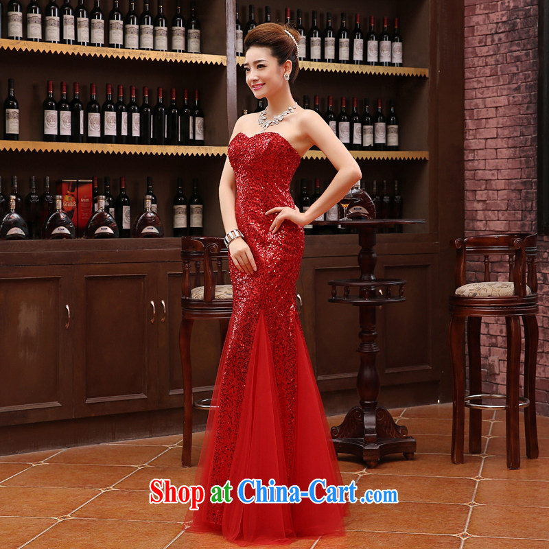 2015 cultivating sense of bare chest, dress crowsfoot lace girl Evening Dress long star, bridal toast serving red XXL