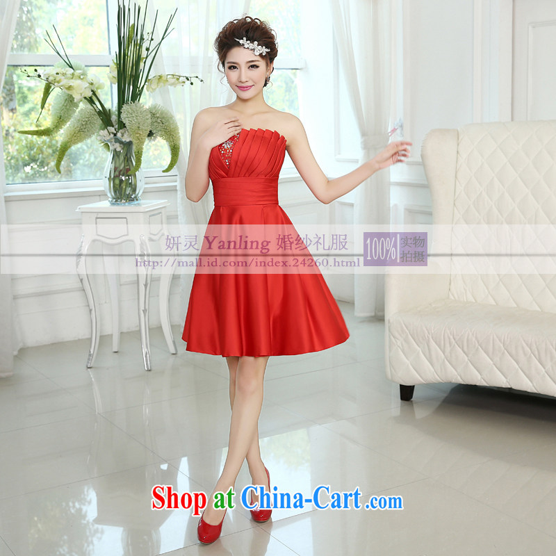 15 new stylish Korean dress bride toast wedding services bridesmaid sister in the short little dress LF 182 red XXL