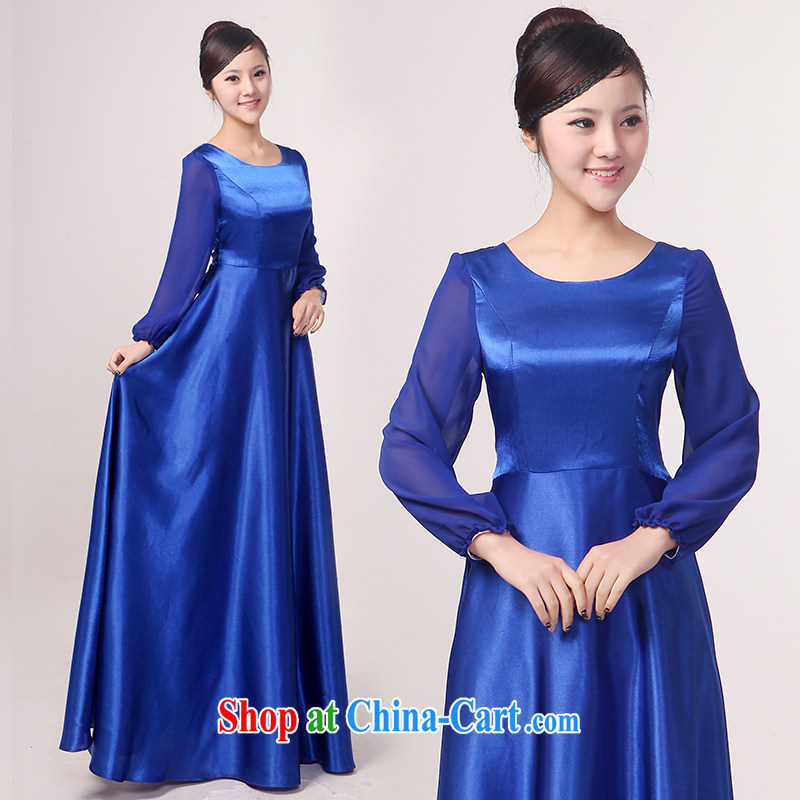 Her spirit new long-sleeved choir uniforms chorus serving female long choral clothing female long skirt show clothing Custom Blue XXL