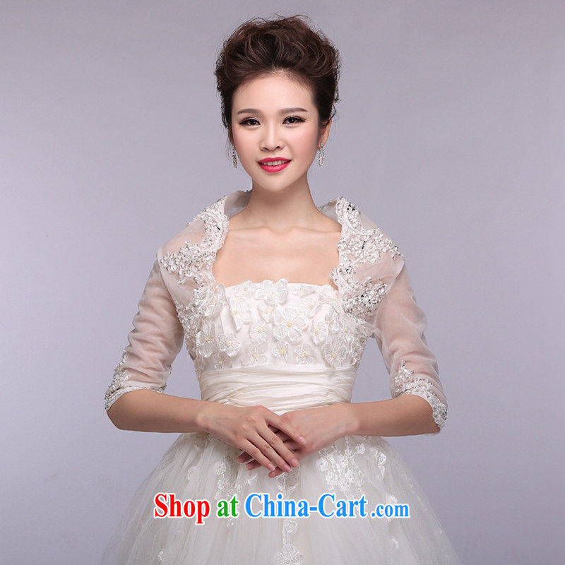 Hi Ka-hi 2015 new white bridal shawl thin lace small jacket wedding dresses accessories NJ 03 white are code