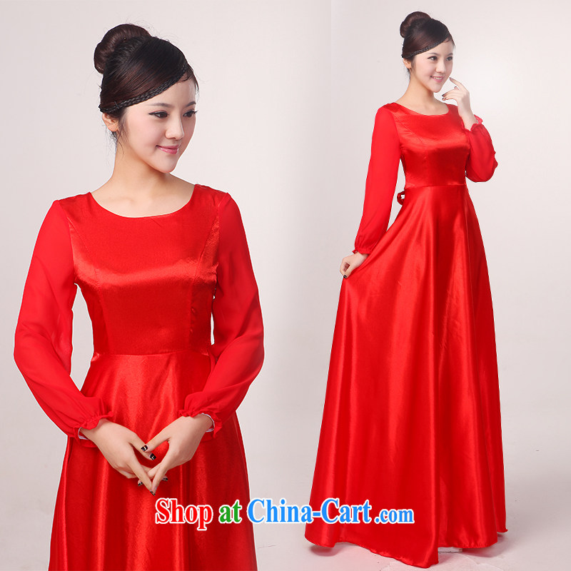 Her spirit in long sleeves, choir uniforms female chorus serving women long skirt, older chorus clothing female long skirt new blue XXXL, her spirit (Yanling), online shopping