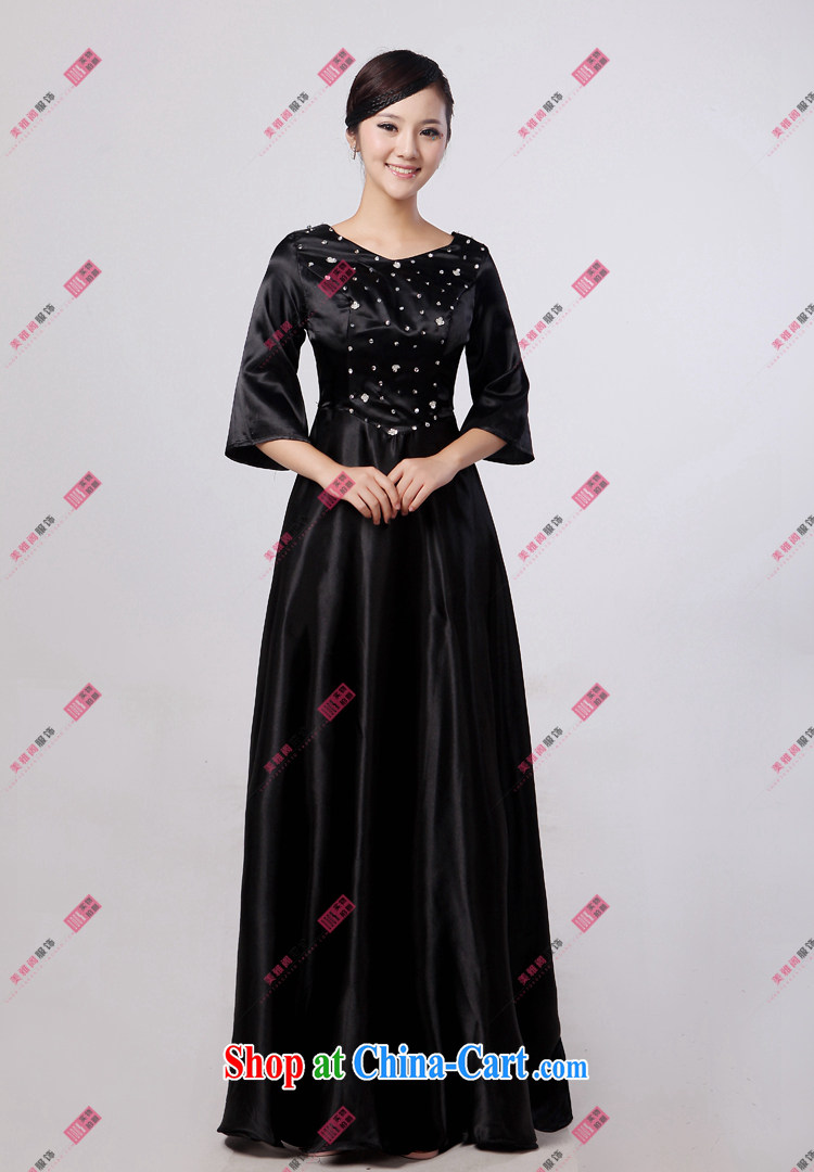 Her spirit black long sleeved chorus serving women long skirt large choral fashion women dress in older choral service black XXXXL pictures, price, brand platters! Elections are good character, the national distribution, so why buy now enjoy more preferential! Health