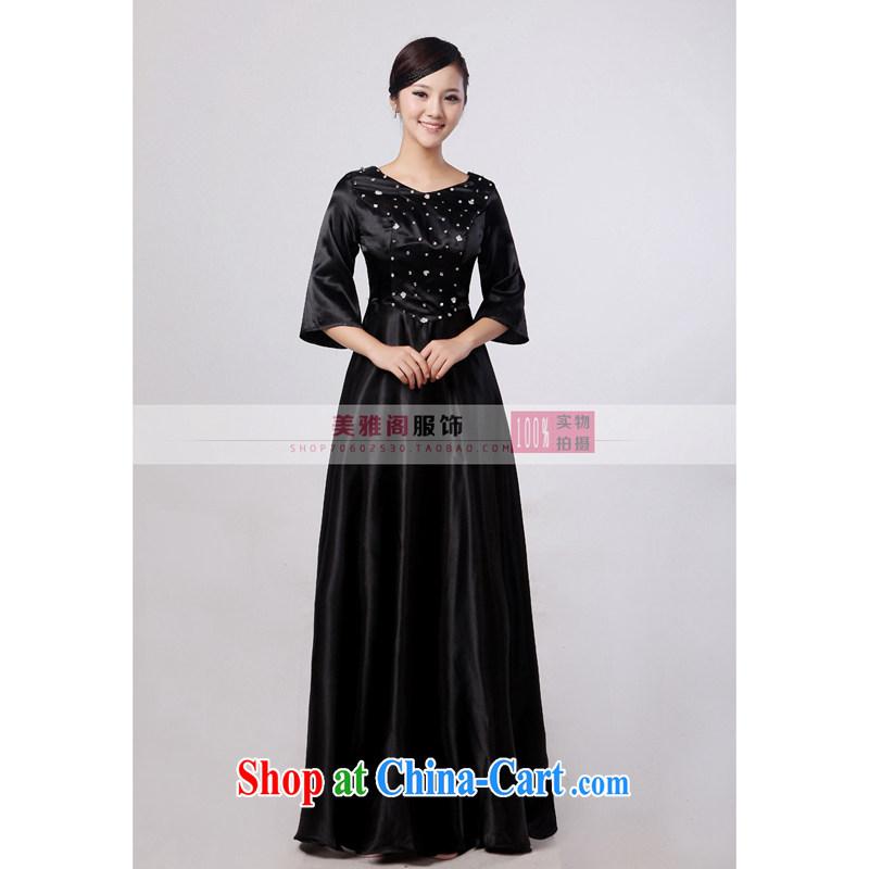 Her spirit black long sleeved chorus serving women long skirt large choral fashion women dress in older choral service black XXXXL, her spirit (Yanling), online shopping