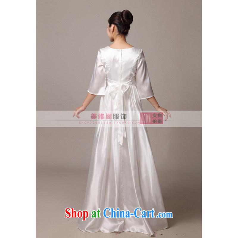 Her spirit new special long chorus chorus served in serving older chorus clothing female long skirt white XXXXL