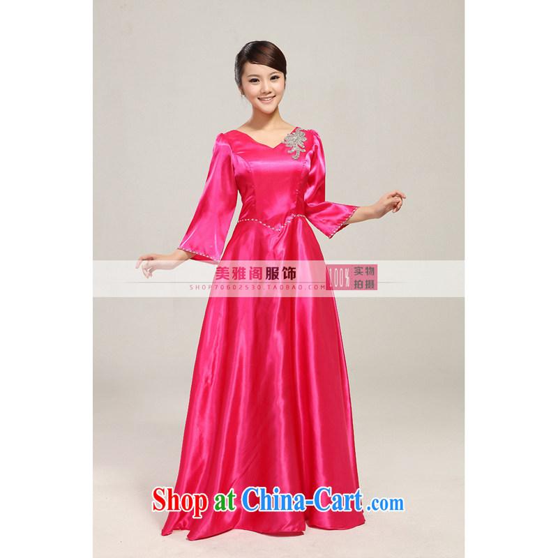 Her spirit low price chorus serving blue chorus clothing female long skirt new paragraph in Ms. cuff choir uniforms dress XXXXL, her spirit (Yanling), shopping on the Internet