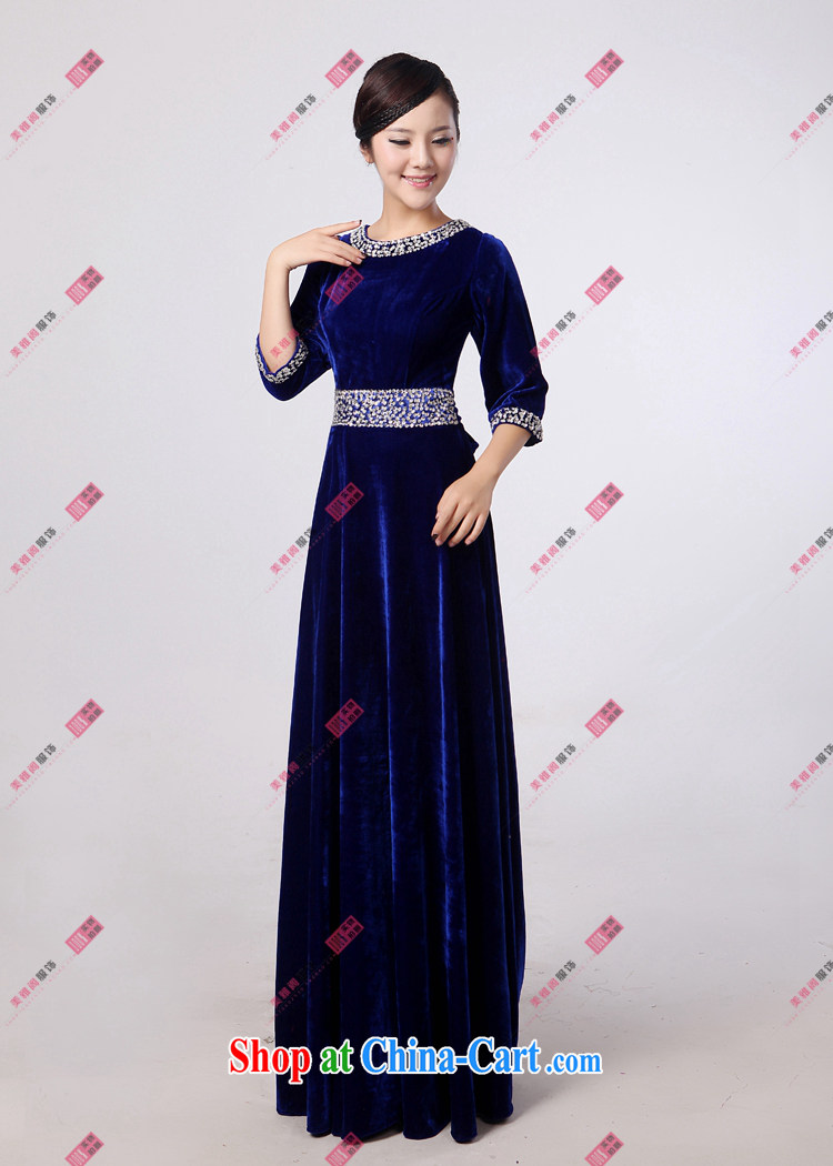 Yan LING BAO blue velvet, long skirt choir uniforms chorus serving women long skirt choral conductor service. XXXXL pictures, price, brand platters! Elections are good character, the national distribution, so why buy now enjoy more preferential! Health