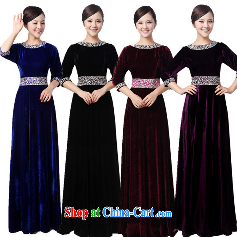 Yan LING BAO blue velvet, long skirt choir uniforms chorus serving women long skirt choral conductor service. XXXXL