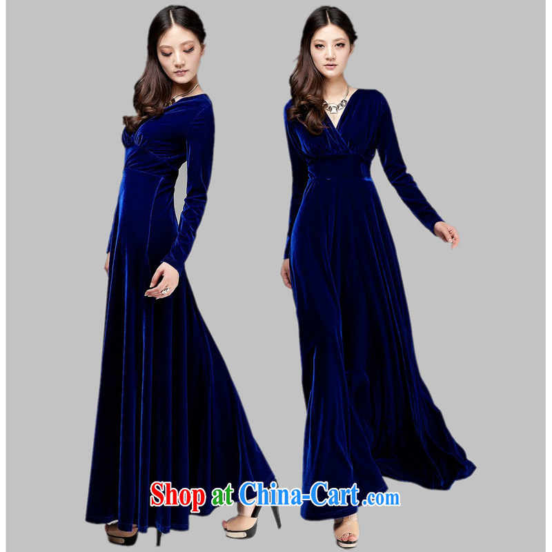 Her spirit new female gold velour long sleeved Command uniforms choral service long evening dress stage the ceremonial costumes XXL