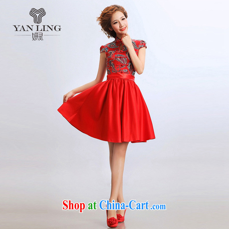 2015 stylish short skirts short cheongsam improved cheongsam wedding dresses bridal wedding dress cheongsam red s