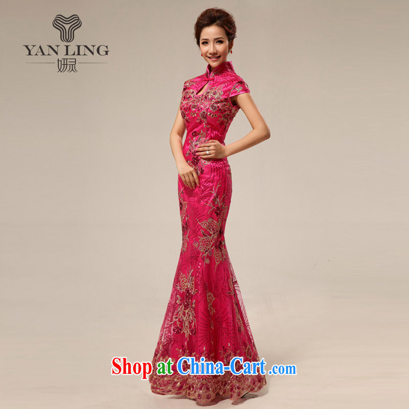 2015 retro marriage ceremonies improved cheongsam hospitality service cheongsam dress summer style 67 (Ko Yo red) pink M